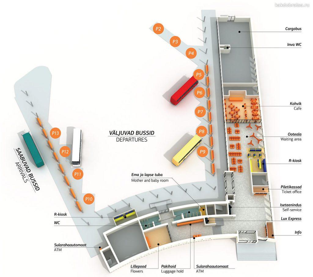 Схема автовокзала в Таллине