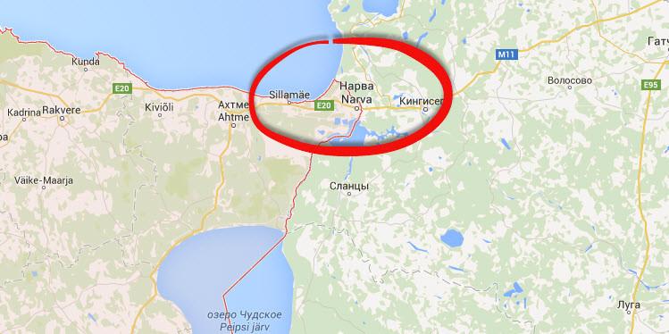 Города Нарва на карте