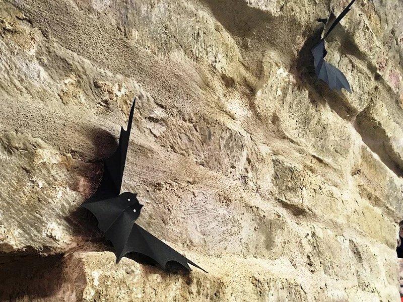 Муляжи летучих мышей на стенах бастиона